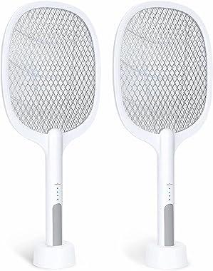 Bug Zapper, 3000Volt Indoor & Outdoor Electric Fly Swatter, Rechargeable Mosquito Killer Racket for Home, Bedroom, Kitche