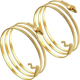 2 Pack Metal Snake Armband Swirl Snake Spiral Upper Arm Cuff Armlet Bangle Bracelet Egyptian Costume Accessory for Women