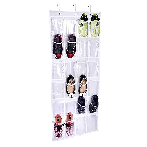 Joyoldelf hanging storage organiser with 24pockets for shoes, hanging storage bag, shoe storage, white