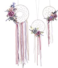 Ling's moment Boho Dream Catcher Set of 3 Floral Dreamcatcher Girl Nursery Wall Hanging for Bedroom Wedding Decoration Baby Shower Party Decor