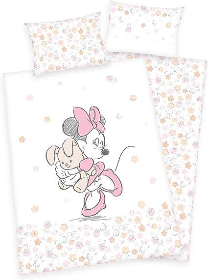 Motif Minnie Mouse avec lapin Flanelle 100 x 135 cm Parure de lit r/éversible pour b/éb/é avec drap : blanc 40 x 60 cm 1 drap-housse 70 x 140 cm