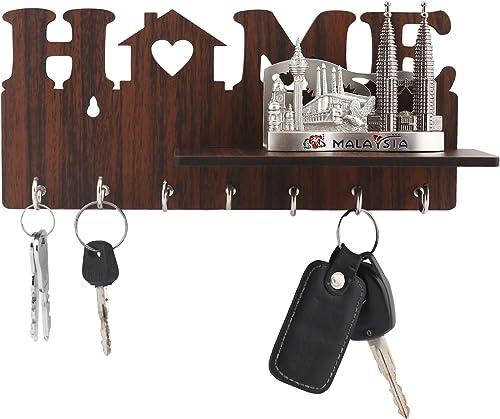Metvan Home Side Shelf Brown KeyHolder Wooden Key Holder Pack of 7 MDF