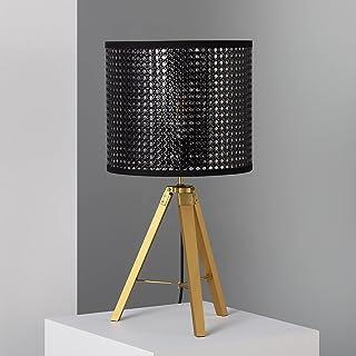 LEDKIA LIGHTING Lampe à Poser Deniza 520x290 mm Noir E27 Bois - Métal pour Décoration Salon, Chambre, Cuisine