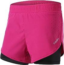 Lixada 2-in-1 hardloopshorts voor dames, sneldrogend, ademend, actieve trainingsshorts