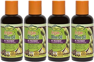 Moroccan Argan & Olive Oil Treatment for Hair - Repairs, Strengthens, Rebuilds, Moisturizes and Creates Shine for Soft, Healthy, Hair - Sofn'Free GroHealthy - Pack of 4