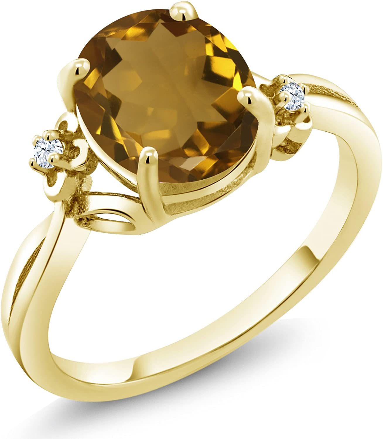 Super beauty product restock quality top! Sale SALE% OFF Gem Stone King 2.03 Ct Oval Plate Whiskey Quartz Yellow Gold 18K