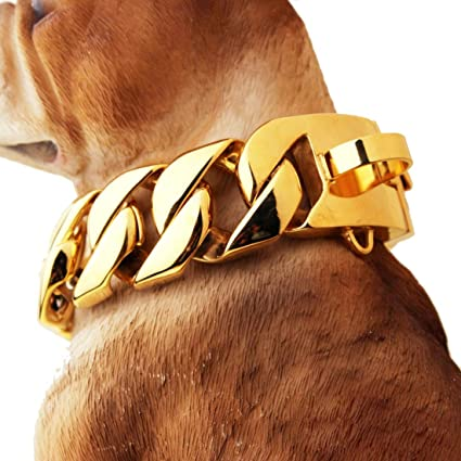 Cadena De Perro Collar Collar De Entrenamiento De Acero Inoxidable Chapado En Oro Heavy Duty Cuban Link Grandes Perros Collar Estrangulador Para Bully Pitbull Dogo Razas Grandes 65cm Amazon Es Hogar