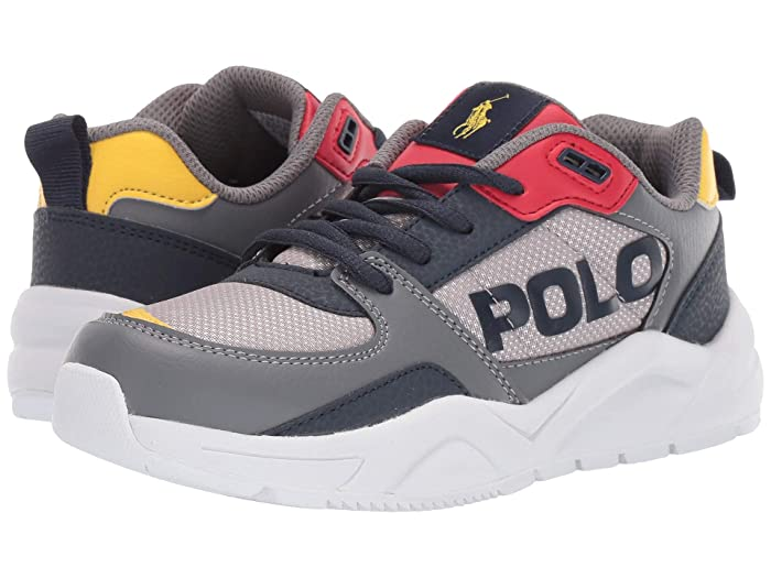 Polo Ralph Lauren Kids  Chaning (Little Kid) (Grey Mesh/Tumbled/Navy/Red/YellowithYellow PP) Kids Shoes