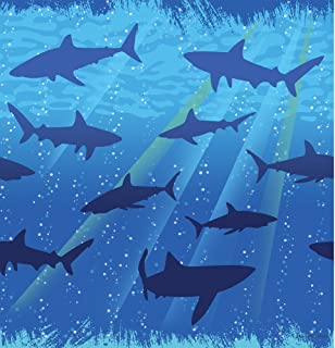 "Creative Converting Shark Splash Plastic Tablecover, Rectangle, 54"" x 108"""