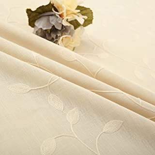 Tina Cotton Linen Leaf Embroidered 20x20