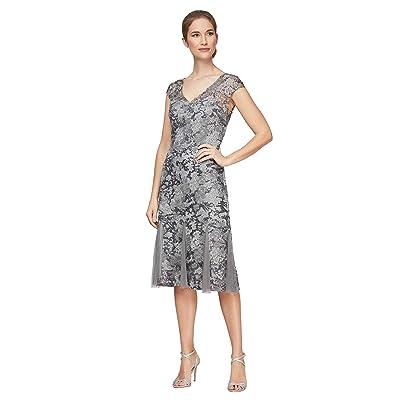 Alex Evenings Short V Neckline Embroidered Dress with Godet Detail Skirt Women