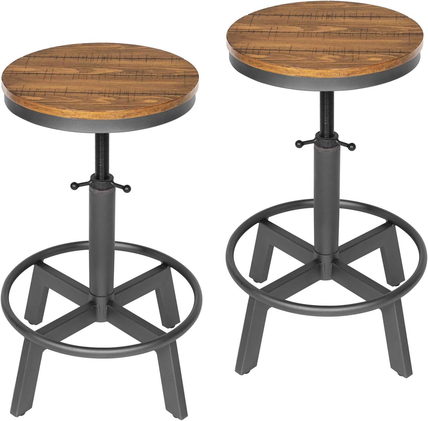 KATDANS Rustic Swivel Bar Stool-Counter Height Bar Stools - Set of 2-24