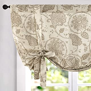 Tie Up Curtains for Windows Linen Textured Adjustable Tie-up Shade for Kitchen Rod Pocket Medallion Design Rustic Jacobean Floral Printed Tie-up Valance (1 Panel 63 Inches Taupe)…