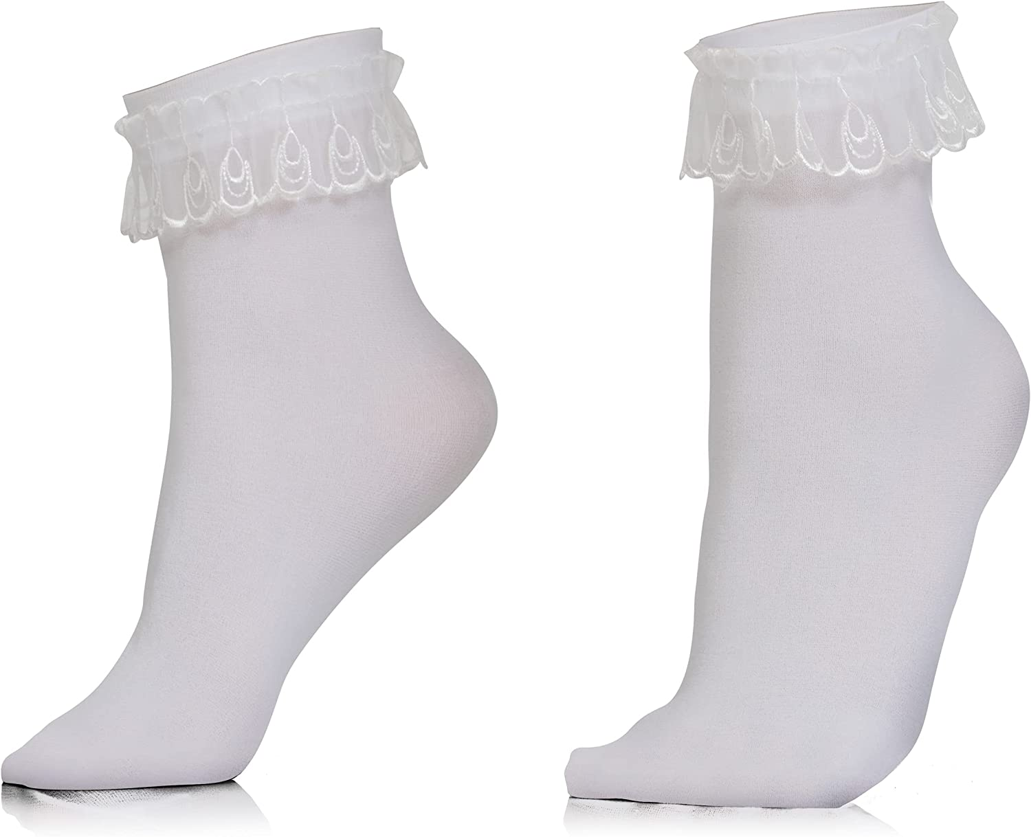 Skeleteen White Ruffled Anklet Columbus Mall Socks Lace Sale special price - Opaque Frilly