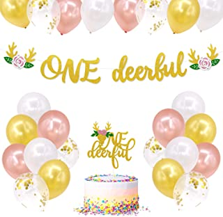 Deer One Birthday Party Decorations, ONE-deer-ful Banner Cake Topper Latex Balloons for Baby Girls Floral Woodland Wild One Deer First Birthday Party Supplies