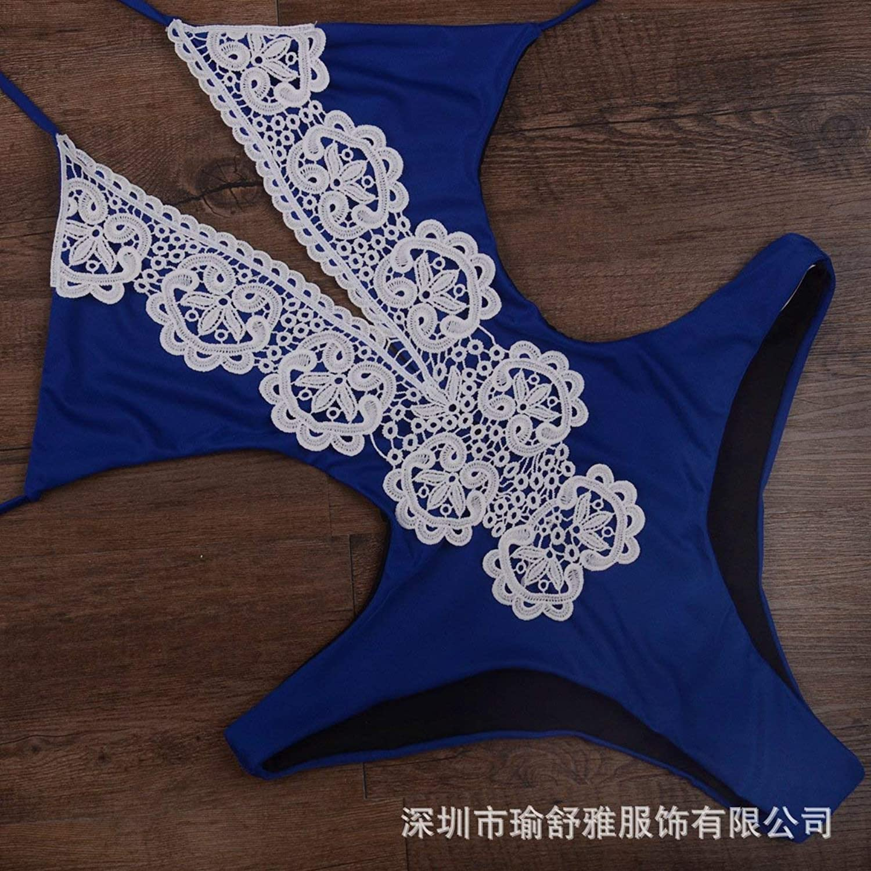 TEDLA President Swimsuit Lace Lace Siamese Swimwear Sexy Dew Back Triangle Bikini, bluee,XXL
