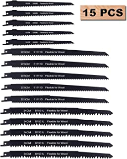 Reciprocating Saw Blades, Sawzall Saw Blade Set, Carbon Steel Metal Sabre Saws Blades for Wood Pruning Cutting(15PCS)