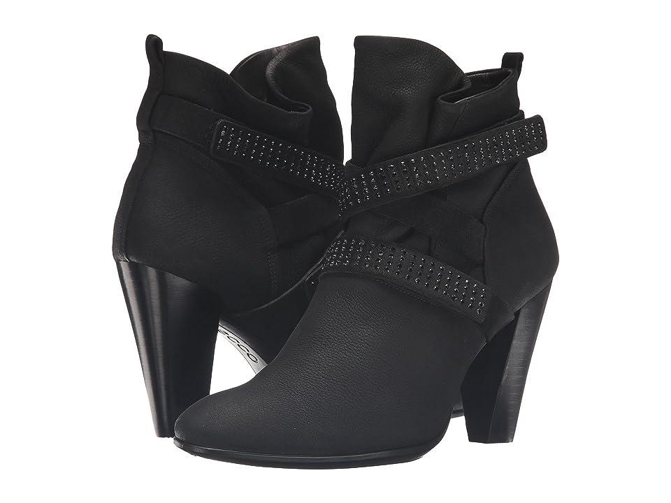 ECCO Shape 75 Slouch Boot (Black/Black Cow Nubuck/Cow Suede) Women