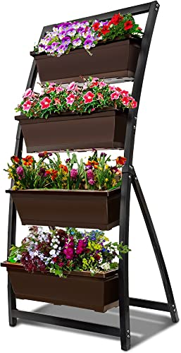 wholesale 6-Ft new arrival Raised Garden Bed - Vertical Garden Freestanding high quality Elevated Planter with 4 Container Boxes - Good for Patio or Balcony Indoor and Outdoor (1, Espresso Brown) outlet online sale