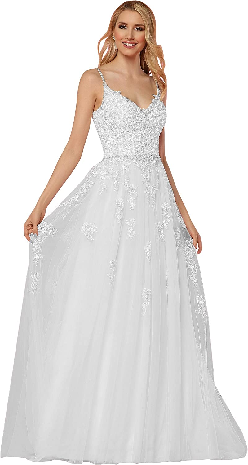 Yilis Women's Romantic Beaded Spaghetti Strap Aline Wedding Dress Lace Appliqued Bridal Gown