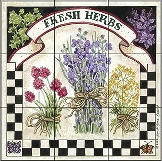Ceramic Tile Mural - Fresh Herbs - by Sandi Gore Evans - Kitchen backsplash/Bathroom Shower