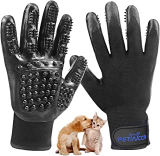 PETINCCN Dog Hair Remover Gloves, Pet Grooming Glove, Pet Hair Remover Gloves, True Touch TET Deshedding Glove, Pet Bathing Massage Cats or Horses with Long or Short Fur 5 Finger Design 1 Pair