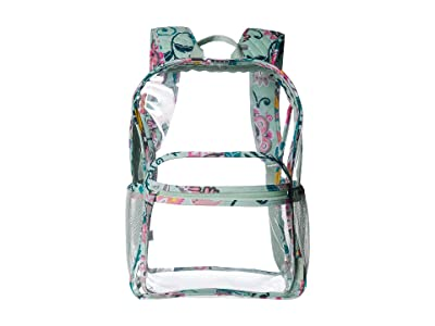 Vera Bradley Clearly Colorful Large Backpack (Mint Flowers) Backpack Bags