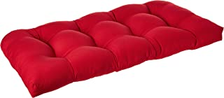 """Pillow Perfect Outdoor/Indoor Pompeii Tufted Loveseat Cushion, 44"""" x 19"""", Red"""