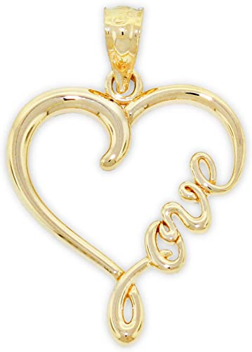 Charm America – Gold Love Heart Charm – 14 Karat Solid Gold