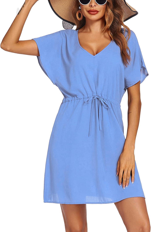 Ekouaer Women's Cover Up Short Sleeve Beachwear Coverups Loose V-Neck Bikini Beach Tunic Top(Sky Blue,Medium)