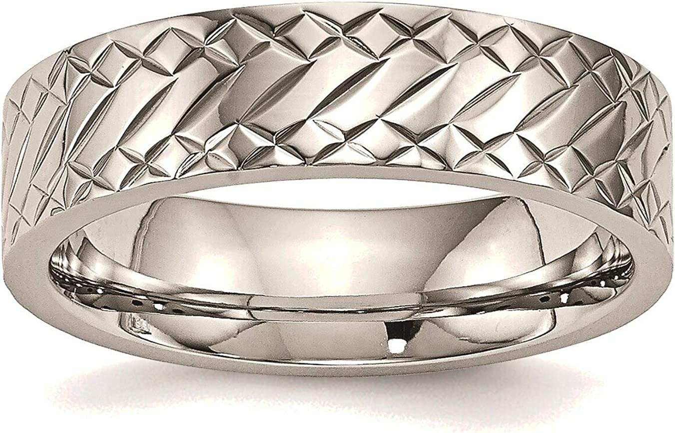 Max 82% OFF Bonyak Jewelry Stainless Steel Polished in Ring Textured Stainle famous