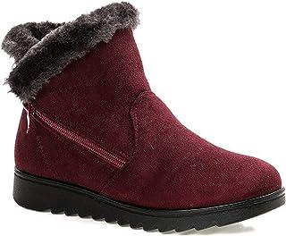 2020 Zapatos Invierno Mujer Botas de Nieve Casual Calzado Piel Forradas Calientes Planas Outdoor Boots Antideslizante Zapa...