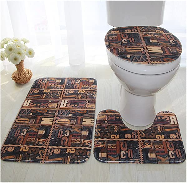 WSHINE 3 Piece Bath Rug Set Stone Print Bathroom Rug 17 7 29 5 Large Contour Mat 15 7 17 7 With Lid Cover 16 15 44