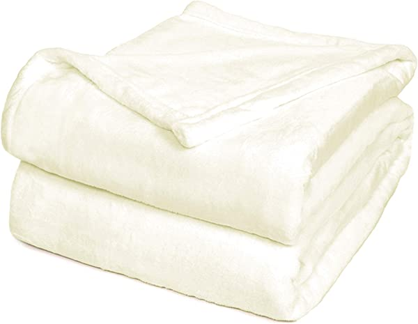 Effortless Bedding Oversized Plush Semi Fitted Bed Blanket King White Cloud