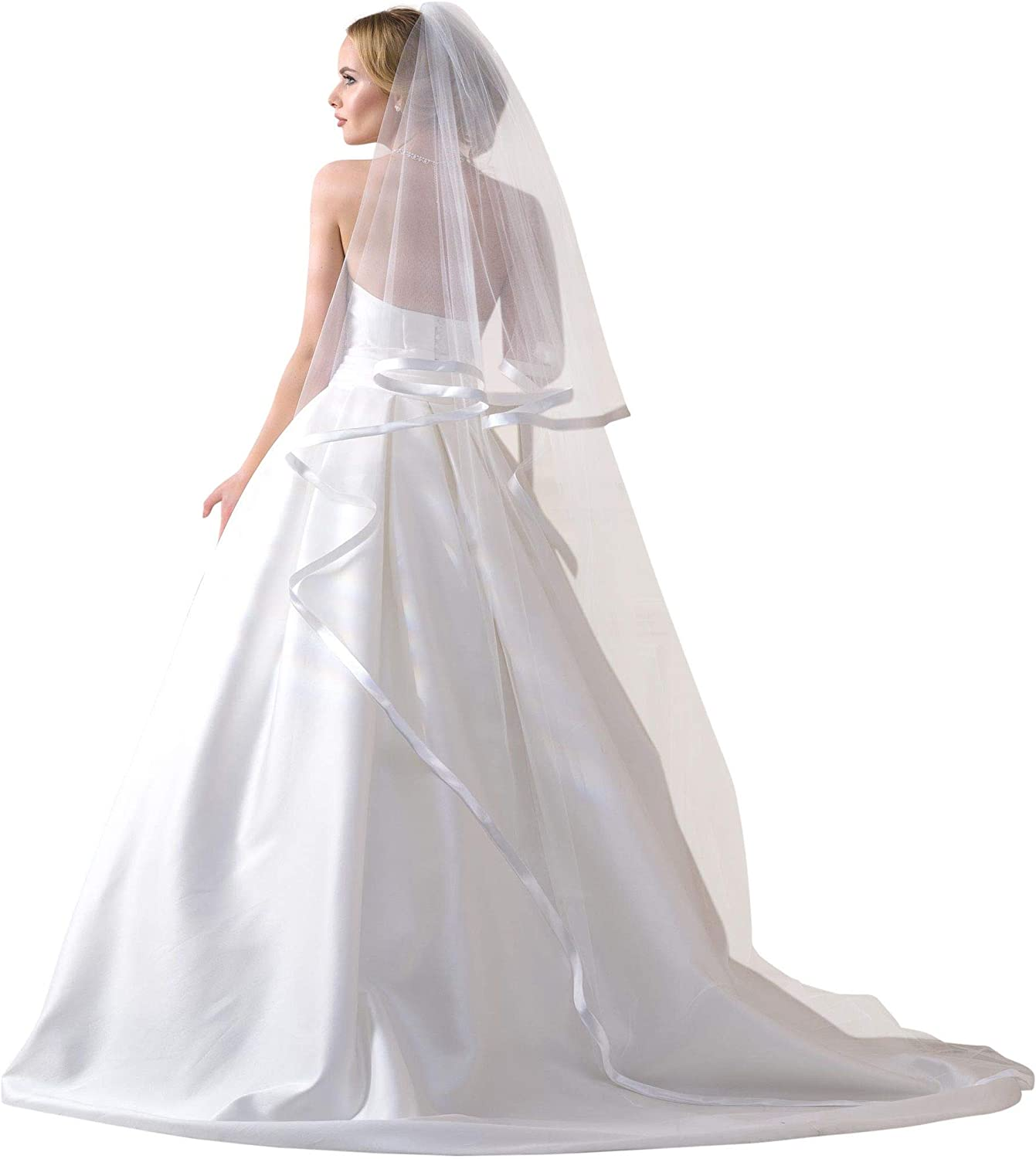 Lacey Bell Wedding 2Tier Wide Ribbon Satin Edge Veil with Comb Chapel Length SV132