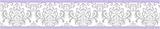Sweet Jojo Designs Lavender, Gray and White Damask Print Elizabeth Collection Kids and Baby Modern Wall Paper Border