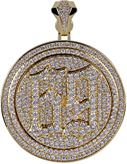 Micropave CZ Iced Out Spinner Round 69 Pendant Necklace Hip Hop Jewelry