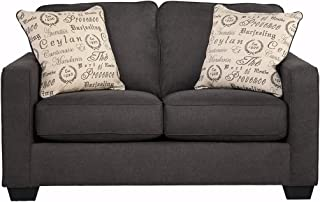 Signature Design by Ashley - Alenya Microfiber Upholstery Sofa w/ 2 Throw Pillows, Quartz
