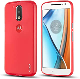 J&D Compatible para Moto G4/Moto G4 Plus Funda, [Cojín Fino] [Parachoques Ligero] [Protección contra Caídas] Resistente Funda TPU Protectora para Motorola Moto G4/Moto G4 Plus - Rojo