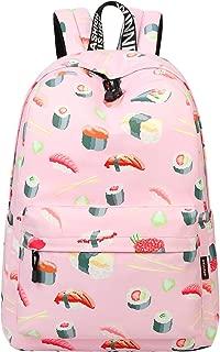 School Bookbags for Girls, Cute Janpanese Sushi Backpack College Bags Women Daypack Travel Bag by Mygreen (Pink Sushi-Large)