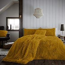 Luxury Super Soft Warm Cosy Reversible Fluffy Fur Comforter Bedding Sets Fleece Teddy Hug & Snug Duvet Cover Set (Ochre, K...