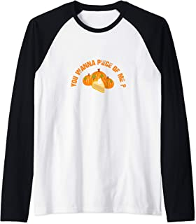 Cute Thanksgiving Pumpkin Pie You Wanna Piece of Me Raglan Baseball Tee