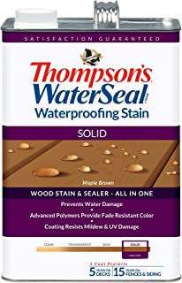 THOMPSONS WATERSEAL TH.043821-16 Solid Waterproofing Stain, Maple Brown