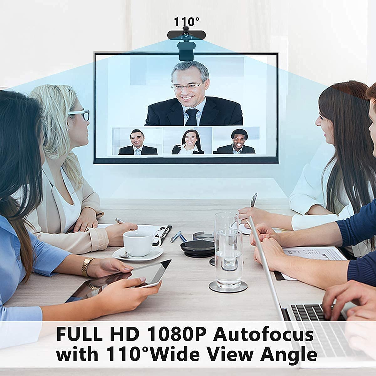 1080P Business Webcam with Dual Microphone & Privacy Cover, 2020 [Upgraded] USB FHD Web Computer Camera, Plug and Play, for Zoom/Skype/Teams Online Teaching, Laptop MAC PC Desktop