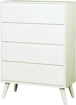 Benzara BM172832 Mahogany Wood Mid Century Small Chest White