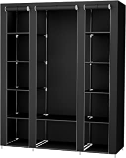 SONGMICS 59 Inch Portable Clothes Closet Wardrobe Storage Organizer with Non-woven Fabric, Quick and Easy to Assemble, Extra Strong and Durable, Black ULSF03H