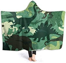 Green Dinosaurs Camouflage Throw Wrap Cover for Bed Couch Sofa Chair Dorm - 60x80 inch, Extra Soft Sherpa Plus Velvet Hooded Blankets Wearable Blanket - 60x80 inch