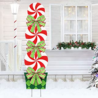 ORIENTAL CHERRY Candy Christmas Decorations Outdoor - 44In Peppermint Xmas Yard Stakes - Giant Holiday Decor Signs for Home Lawn Pathway Walkway Candyland Themed Party - Red White Green