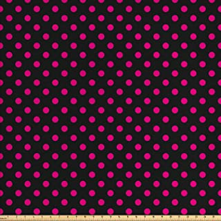 Ambesonne Hot Pink Fabric by The Yard, Old Fashioned Polka Dots Symmetrical Pattern in Vibrant Color Classical Pop, Decorative Fabric for Upholstery and Home Accents, 1 Yard, Pink Black