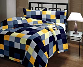 INDICUM Check Patch Cotton Microfiber Summer/Winter Double Bed AC Blanket, 85X100 (Blue)